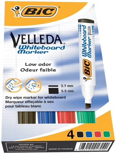 Bic Velleda Drywipe Marker Chisel Tip Assorted [Wallet of 4]