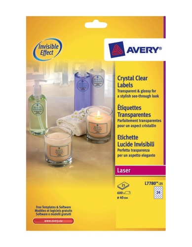 Avery Crystal Clear Labels Laser Circular 24/Sheet 40mmTransparent [600 Labels]