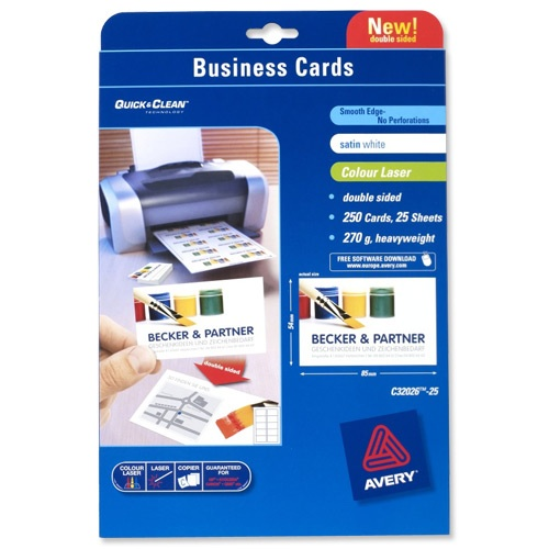 Avery Business Cards Satin White Laser 10/Sheet 85x54mm [25 Sheets]