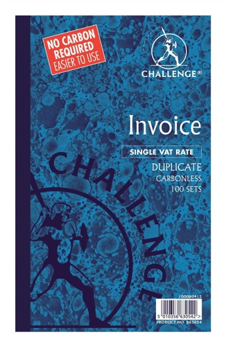 Challenge Duplicate Book Carbonless Invoice without VAT 210x130mm Pack of 5