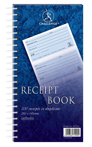Challenge Receipt Book 280x152mm [800 Receipts]