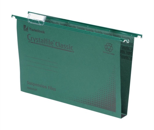 CrystalFile 30mm Suspension Files A4 Green [Pack of 50]