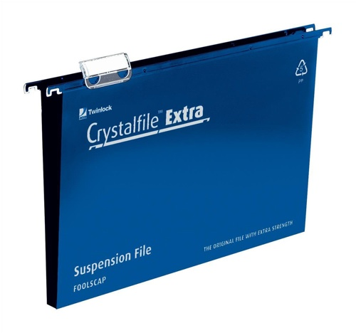 CrystalFile Extra Suspension File 30mm Foolscap Blue [Pack of 25]
