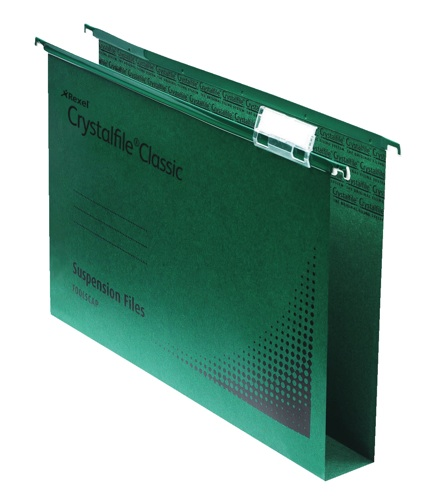 CrystalFile 30mm Double Capacity Suspension Files Foolscap Green [Pack of 50]